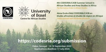 4th CODESRIA/CASB Summer School in African Studies and Area Studies in Africa 2020 (Funded to Dakar, Senegal)
