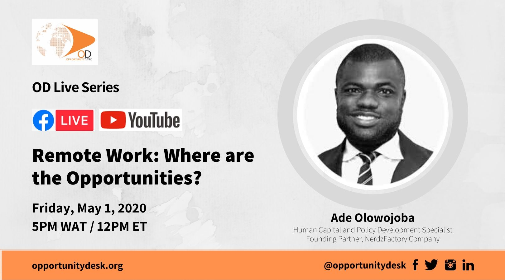 OD Live with Ade Olowojoba on Remote Work: Where are the Opportunities?