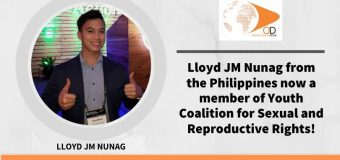 Lloyd JM Nunag from the Philippines now a member of Youth Coalition for Sexual and Reproductive Rights!