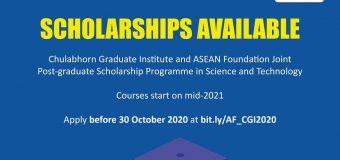 Chulabhorn Graduate Institute (CGI) ASEAN Foundation Joint Post-Graduate Scholarship Programme 2021