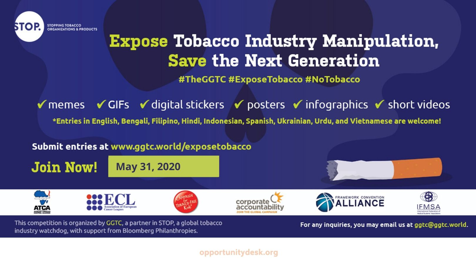 Expose Tobacco Industry Manipulation, Save the Next Generation – Global Media Competition 2020 (Win up to $5,000)