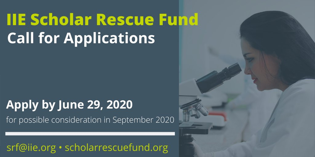 IIE-SRF Fellowship Program 2020 for Threatened and Displaced Scholars (up to $25,000)