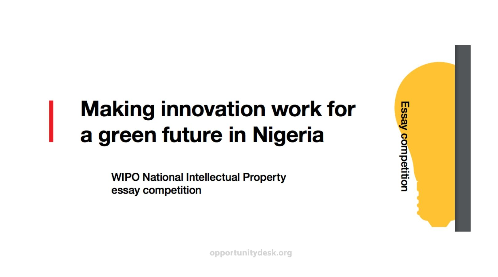 WIPO National Intellectual Property Essay Competition 2020 for Nigerian Students (Win a scholarship and more)