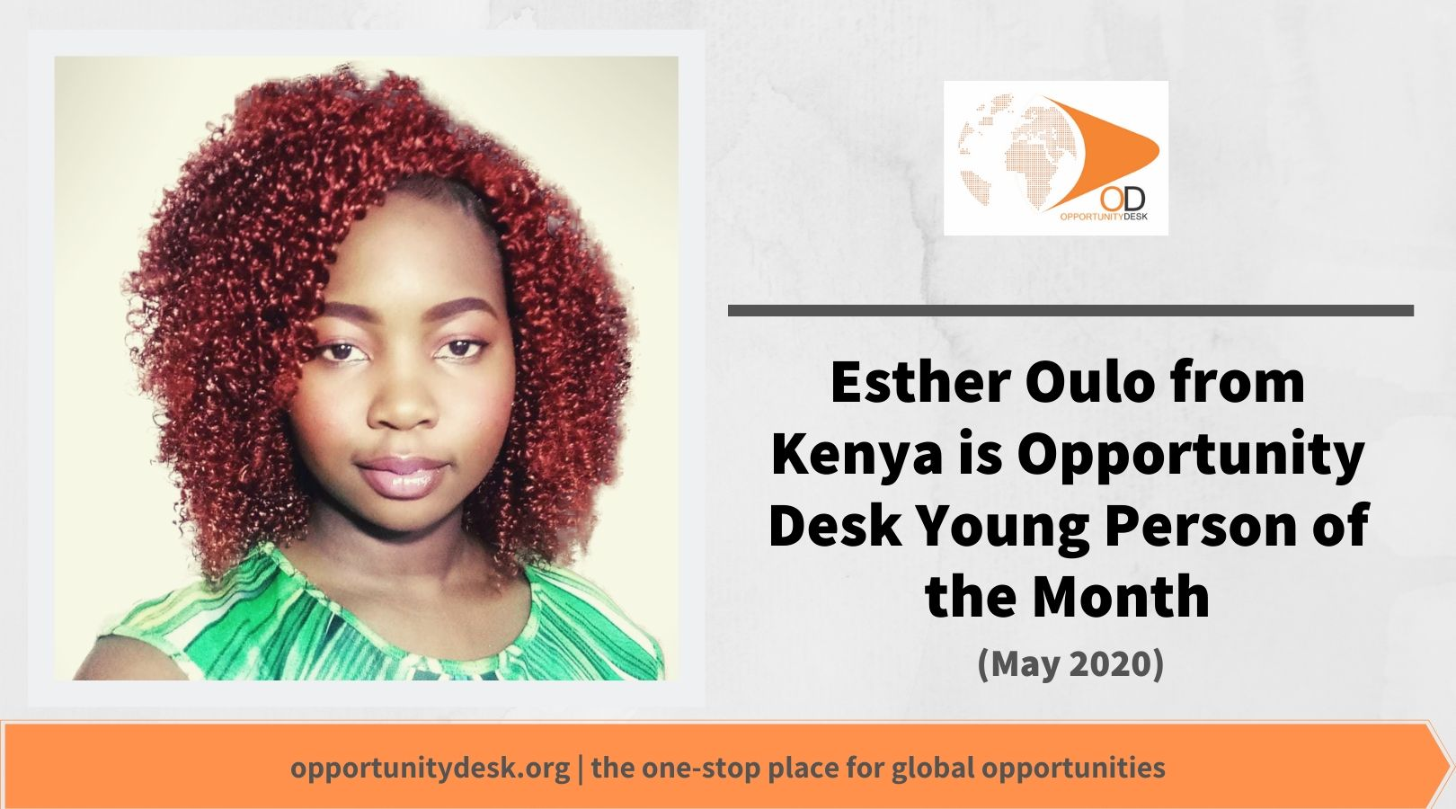 Esther Oulo from Kenya is OD Young Person of the Month for May 2020!