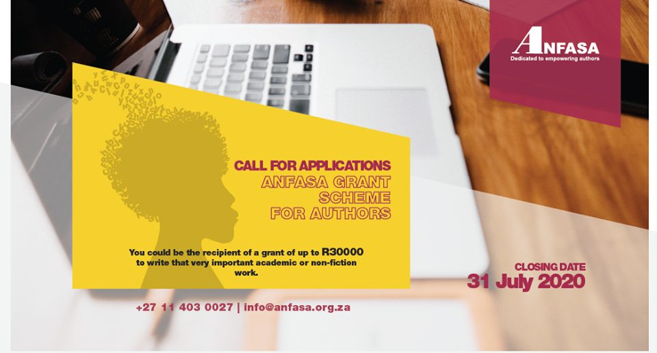Academic and Non-Fiction Authors' Association of South Africa (ANFASA) Grant Scheme 2020 (up to R30,000)