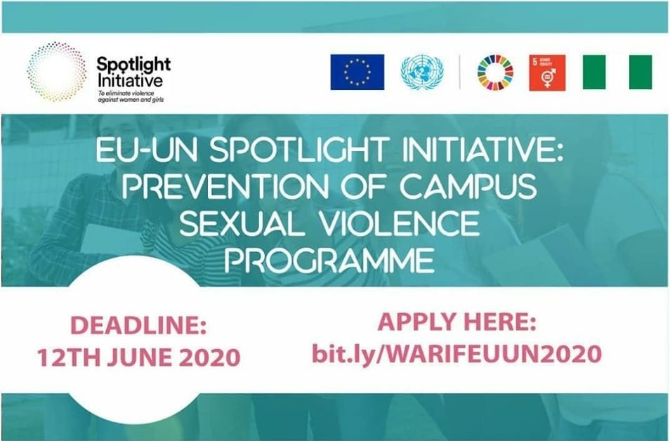 Call for Ambassadors: EU-UN Spotlight Initiative – Prevention of Campus Sexual Violence Programme 2020