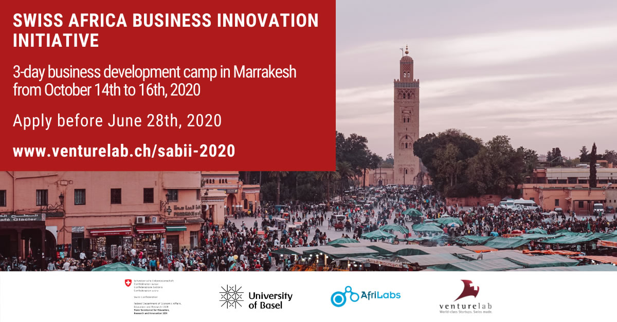 Swiss Africa Business Innovation Initiative Advanced Startup Training & Swiss Business Development Camp 2020 (Fully-funded to Marrakesh, Morocco)