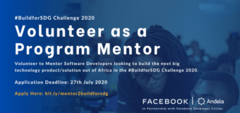 Be a Mentor for the Facebook Developer Circle and Andela #BuildForSDG Challenge Program 2020