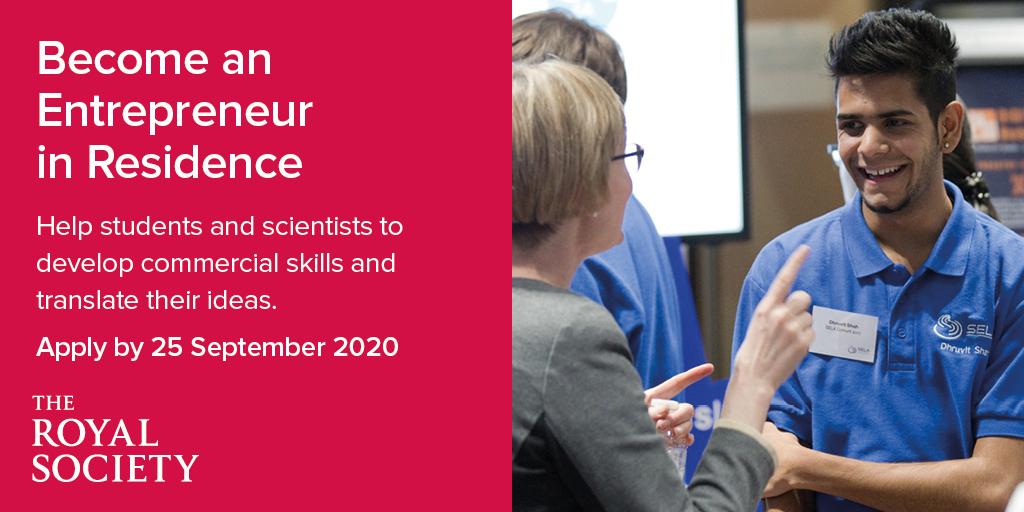 Royal Society Entrepreneur in Residence (EiR) Scheme 2020 (up to £20,000)