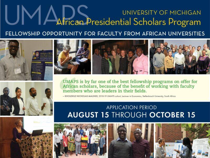 University of Michigan African Presidential Scholars (UMAPS) Program 2021/2022 (Fully-funded)