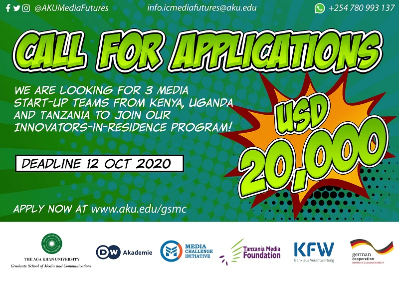 AKU GSMC Media Innovation Centre Innovators-in-Residence Program 2020 for East Africans (up to $20,000)