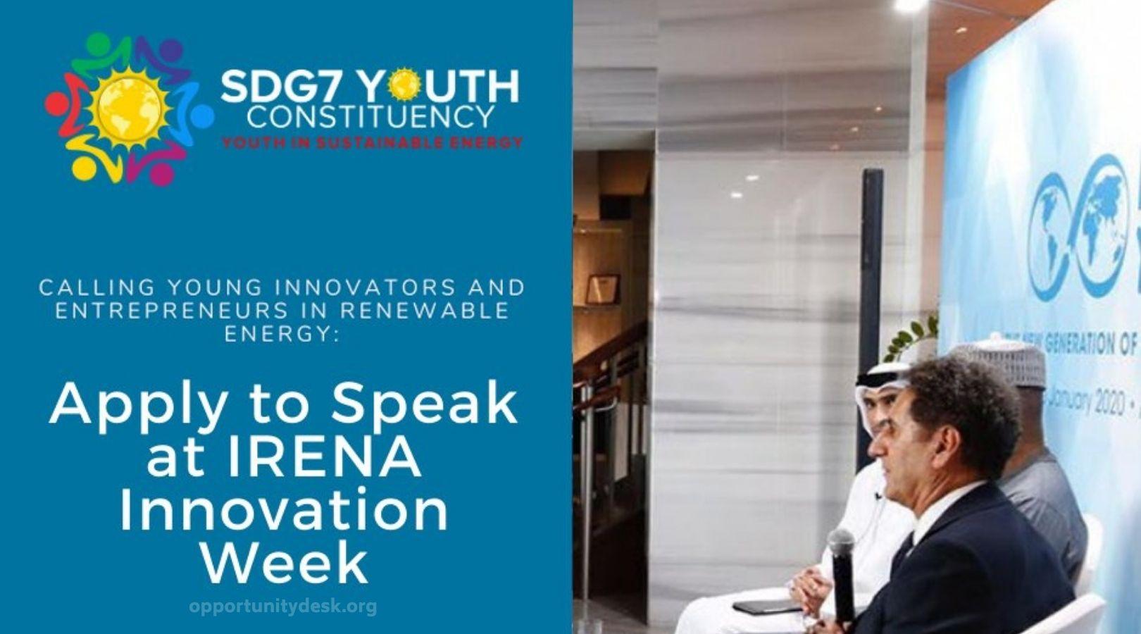 Apply to speak at IRENA Innovation Week 2020