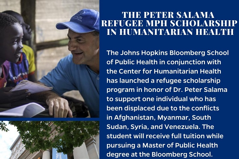 Peter Salama Refugee MPH Scholarship 2020/2021 in Humanitarian Health at John Hopkins University