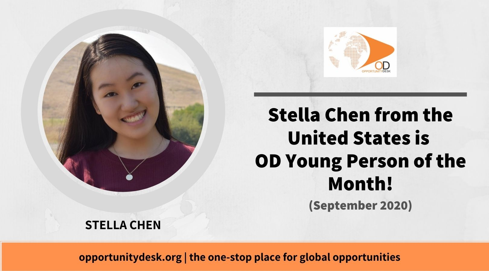 Stella Chen from the United States is OD Young Person of the Month for September 2020!