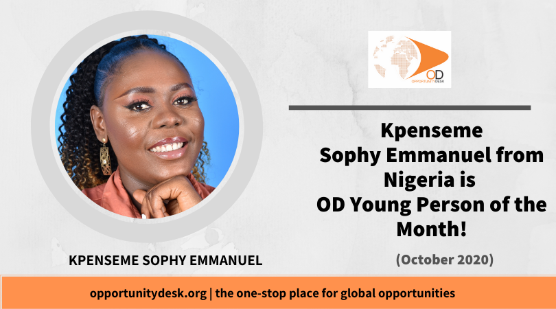 Kpenseme Sophy Emmanuel from Nigeria is OD Young Person of the Month for October 2020!