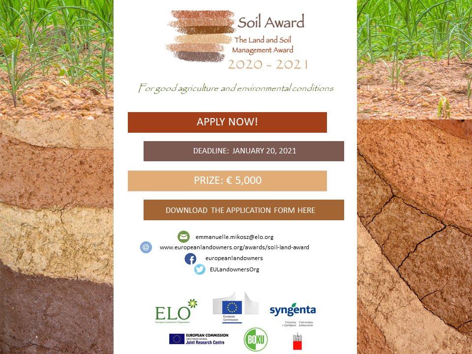 European Landowners' Organization (ELO) Land and Soil Management Award 2020-2021 (€5,000 prize)