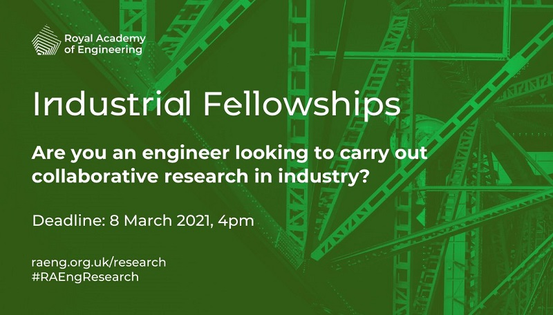 Royal Academy of Engineering Industrial Fellowships 2021/2022 for Mid-career Academics and Industrialists in the UK (Up to £50,000)