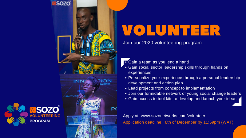 Sozo Networks' Volunteering Program 2020 for Young Nigerians