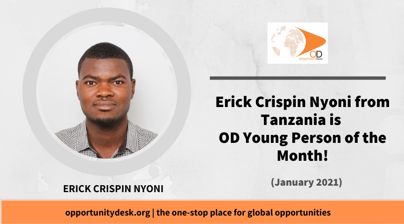 Erick Crispin Nyoni from Tanzania is OD Young Person of the Month for January 2021!