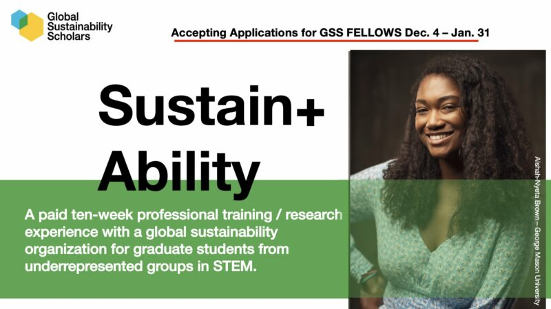 Global Sustainability Scholars Fellows Program 2021 (stipend of $8,000)