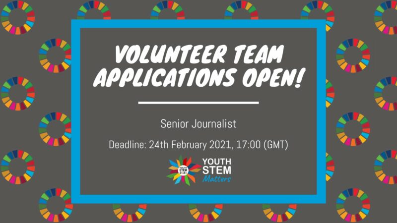 Join the Youth STEM Matters Team as Senior Journalist