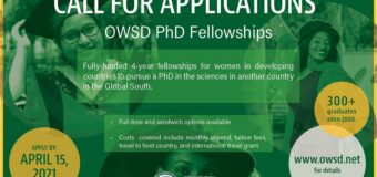 OWSD PhD Fellowship Programme 2021 for Women Scientists (Funded)
