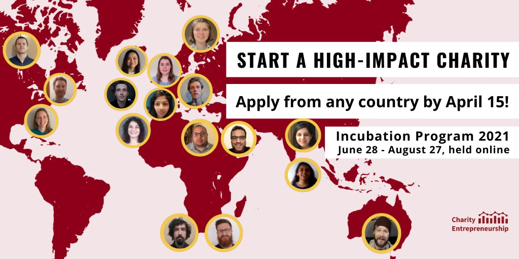 Charity Entrepreneurship Incubation Program 2021 (Fully-funded Boot Camp and up to $100,000 seed funding)