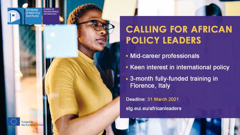 EUI School of Transnational Governance Young African Leaders Program 2021 (Funded)