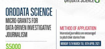 Orodata Science Micro-Grants For Data-Driven Investigative Journalism 2021