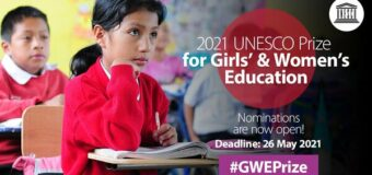 UNESCO Prize for Girls' and Women's Education 2021 (Up to $50,000)