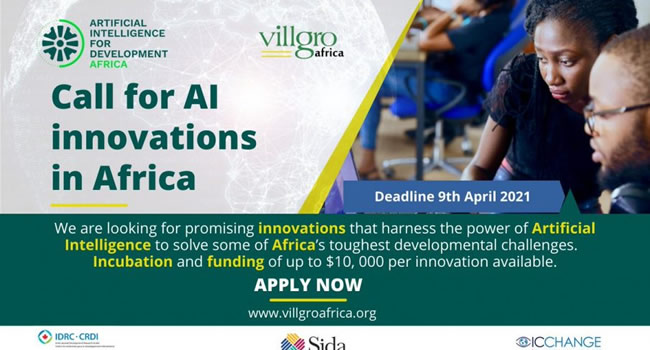 Villgro/AI4D Africa 2021 Call for Artificial Intelligence Innovation in Africa (Up to $10,000 in Funding)