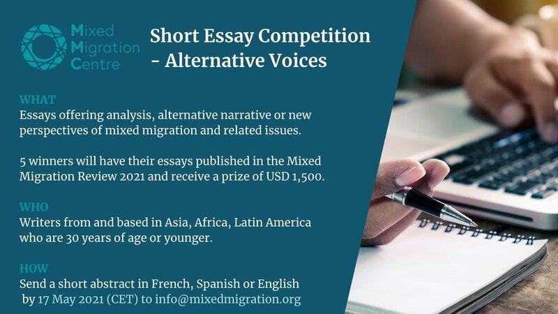 Mixed Migration Centre (MMC) Short Essay Competition 2021 – Alternative Voices ($1,500 prize)