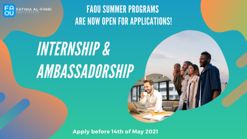 Fatima Al-Fihri Open University (FAOU) Internship Program – Summer 2021
