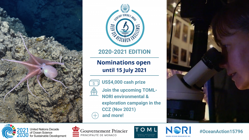International Seabed Authority (ISA) Secretary-General's Award for Deep-Sea Research Excellence 2021 ($4,000 prize)