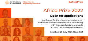 RAEng Africa Prize for Engineering Innovation 2022 for African Innovators (Up to £25,000)