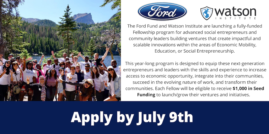 Ford Fund Fully-Funded Fellowship 2021 for social entrepreneurs and community leaders (Seed Funding Included)