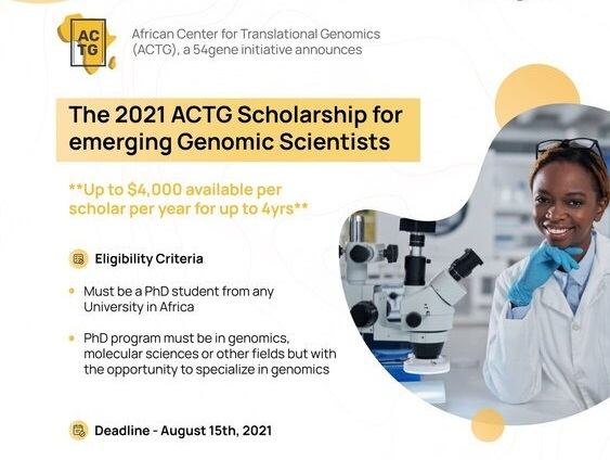 ACTG PhD Scholarship 2021 for Emerging Genomic Scientists in Africa (Up to $4,000)
