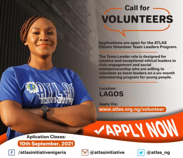 ATLAS Citizen Volunteer Team Leaders Program 2021 for Young People in Lagos, Nigeria